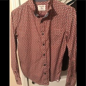 Young men's Santa button down